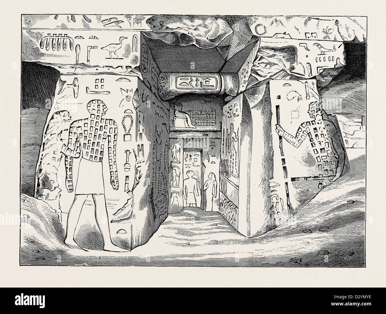 TOMB OF NOFRE MA AN EGYPTIAN OF THE THIRD DYNASTY AT MEIDOUM 1880 - Stock Image