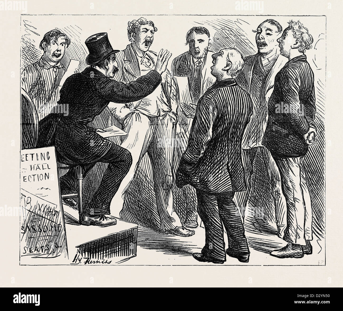 ELECTION SKETCHES: JINGOES REHEARSING RULE BRITANNIA 1880 - Stock Image
