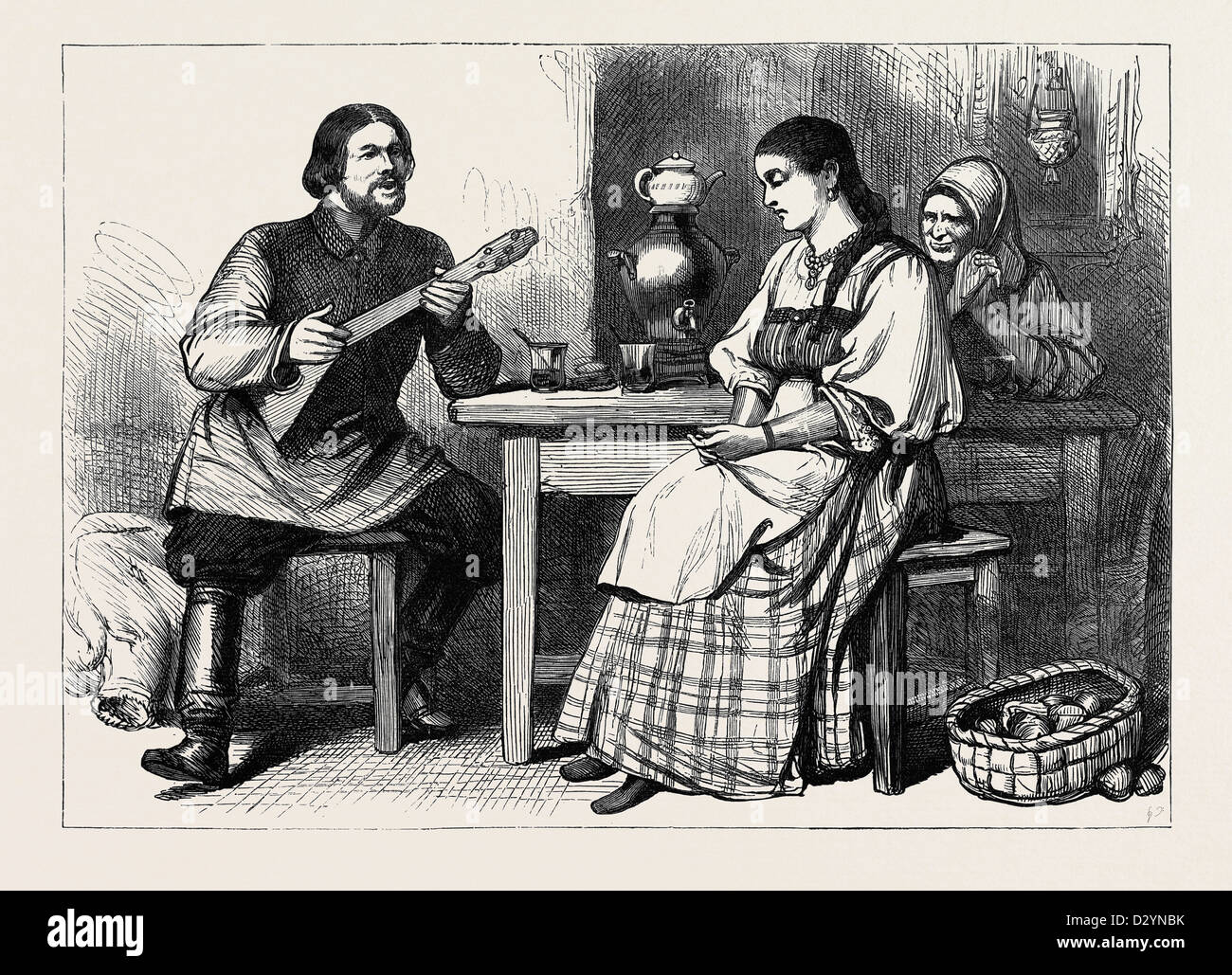 SKETCH OF LIFE IN RUSSIA: A MOUJIK'S COURTSHIP 1880 - Stock Image