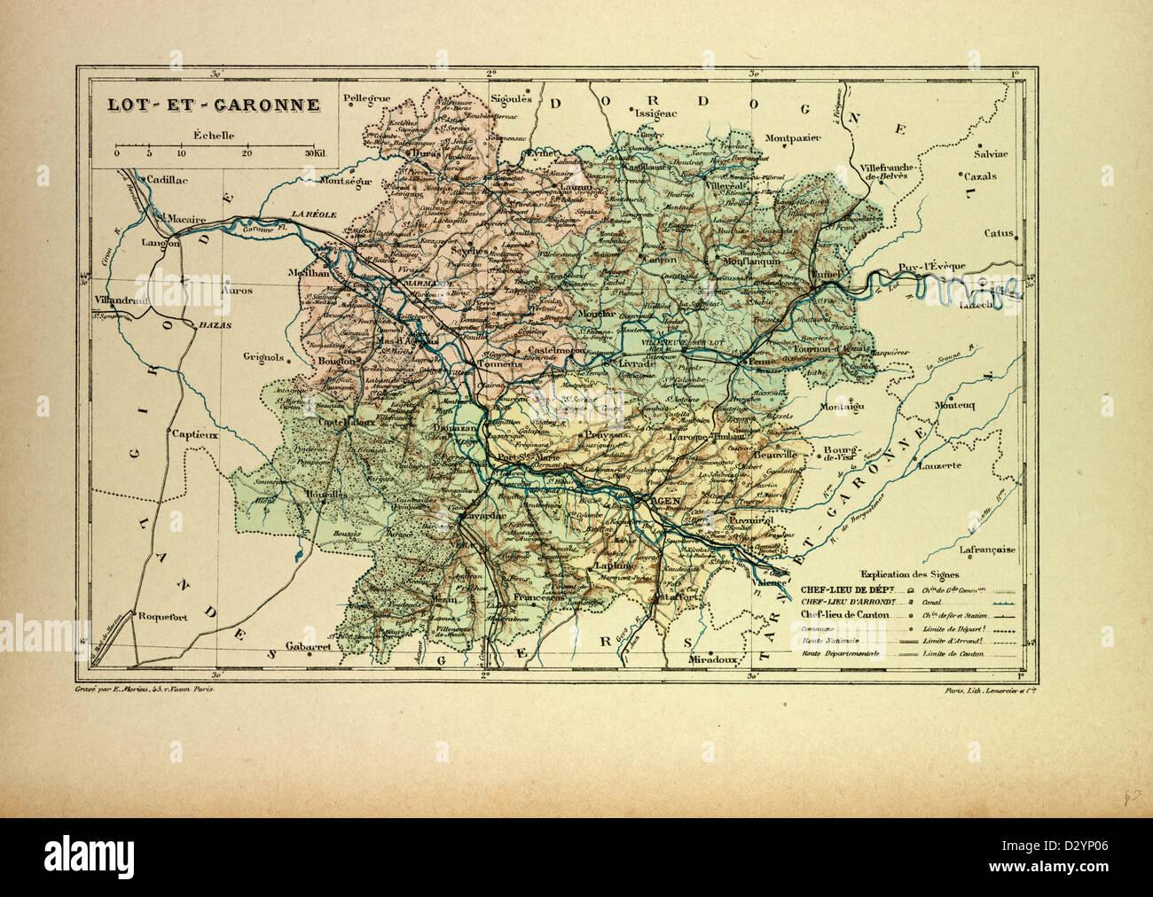 Map Of Lot France.Map Of Lot Et Garonne France Stock Photo 53470374 Alamy