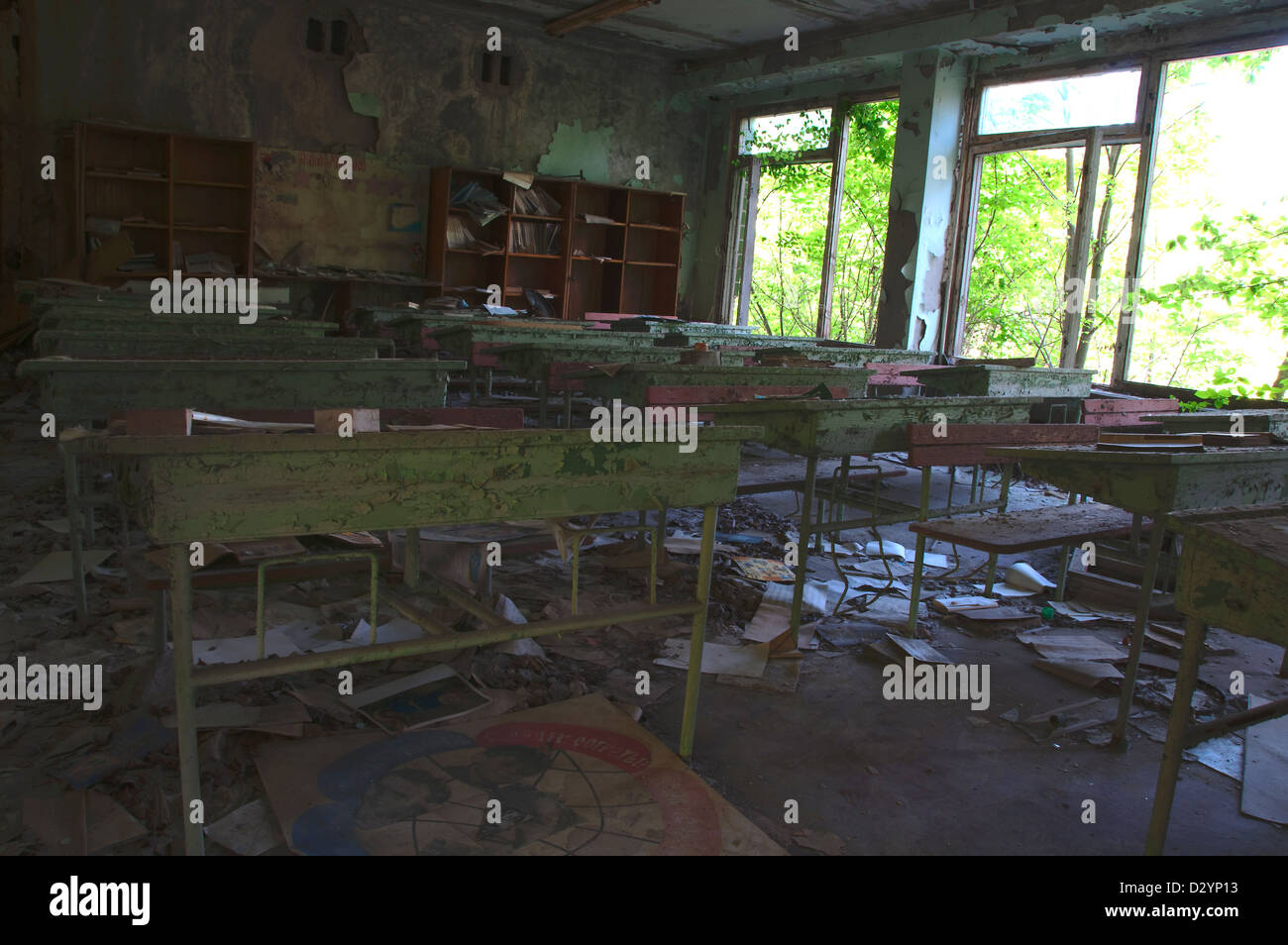 Chernobyl disaster results. Abandoned school. Stock Photo