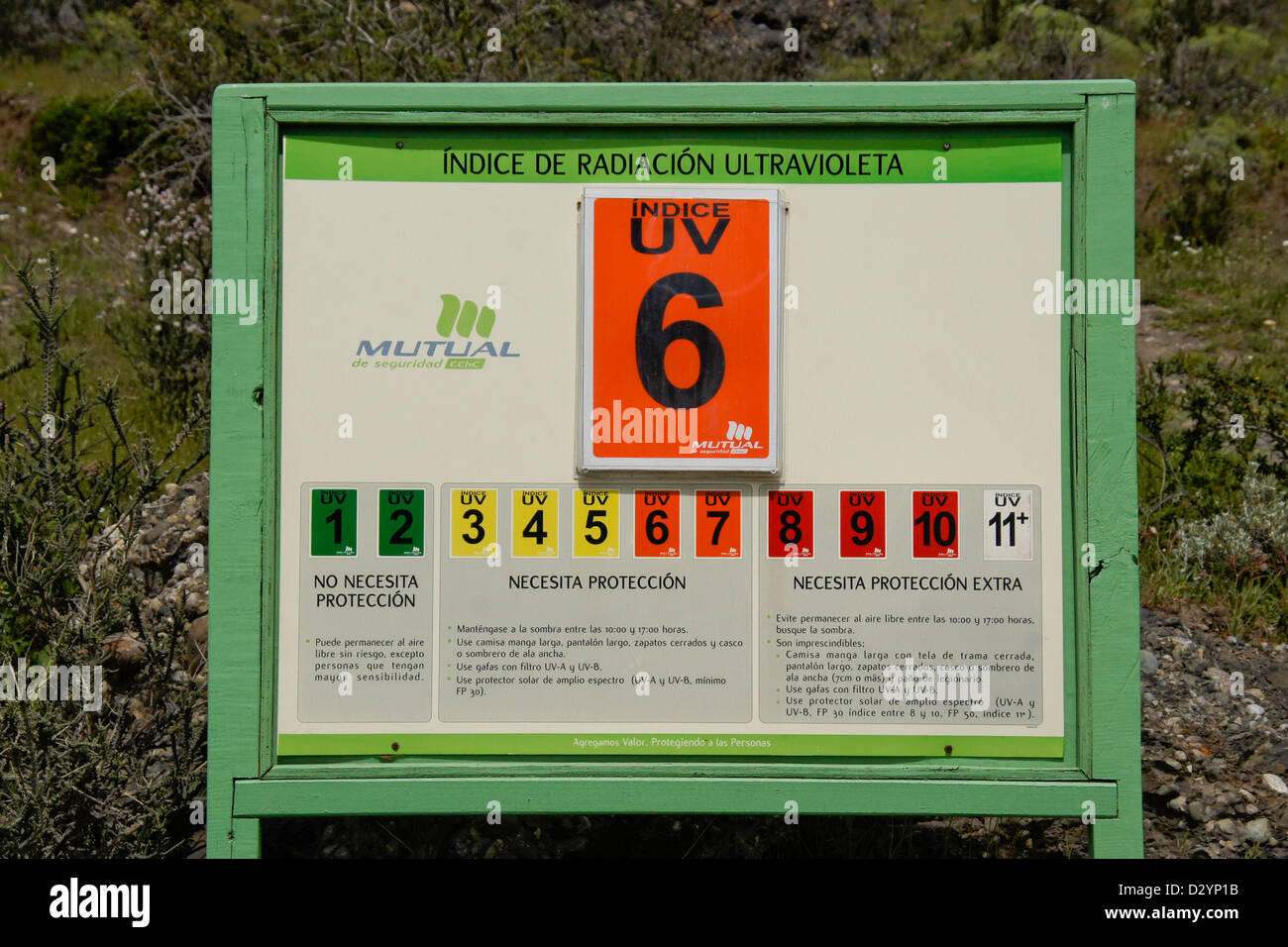 Warning sign showing UV radiation condition, Patagonia, Chile Stock Photo