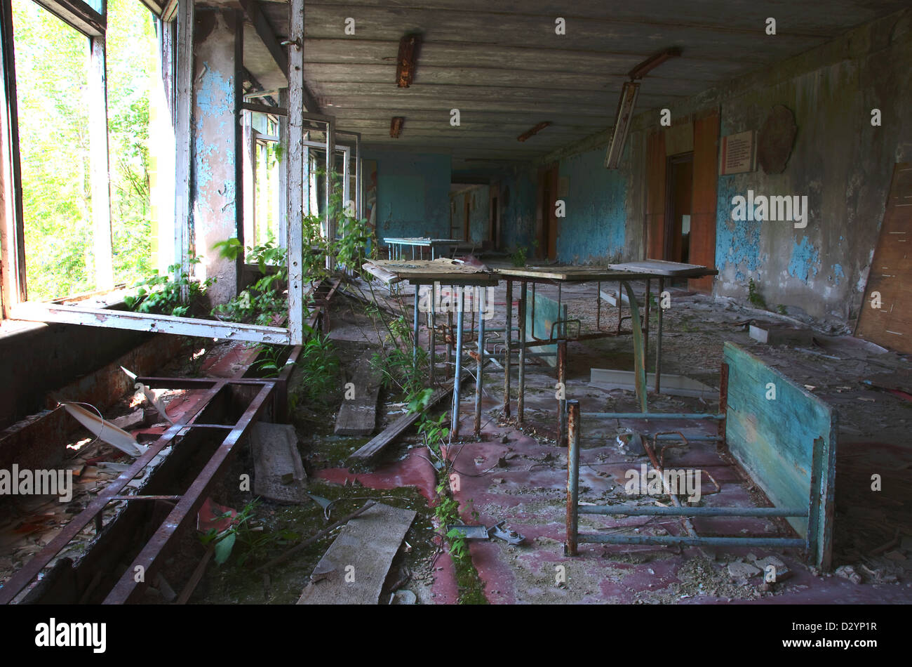 Chernobyl disaster results. Abandoned school. - Stock Image
