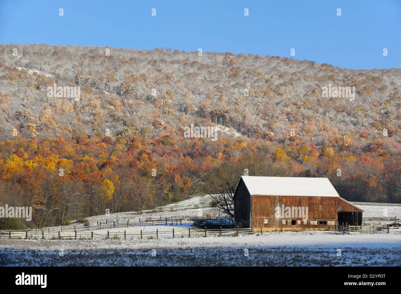 Barn and mountain in early fall snow and sunlight, a scenic cold morning in Pennsylvania, PA, USA. - Stock Image