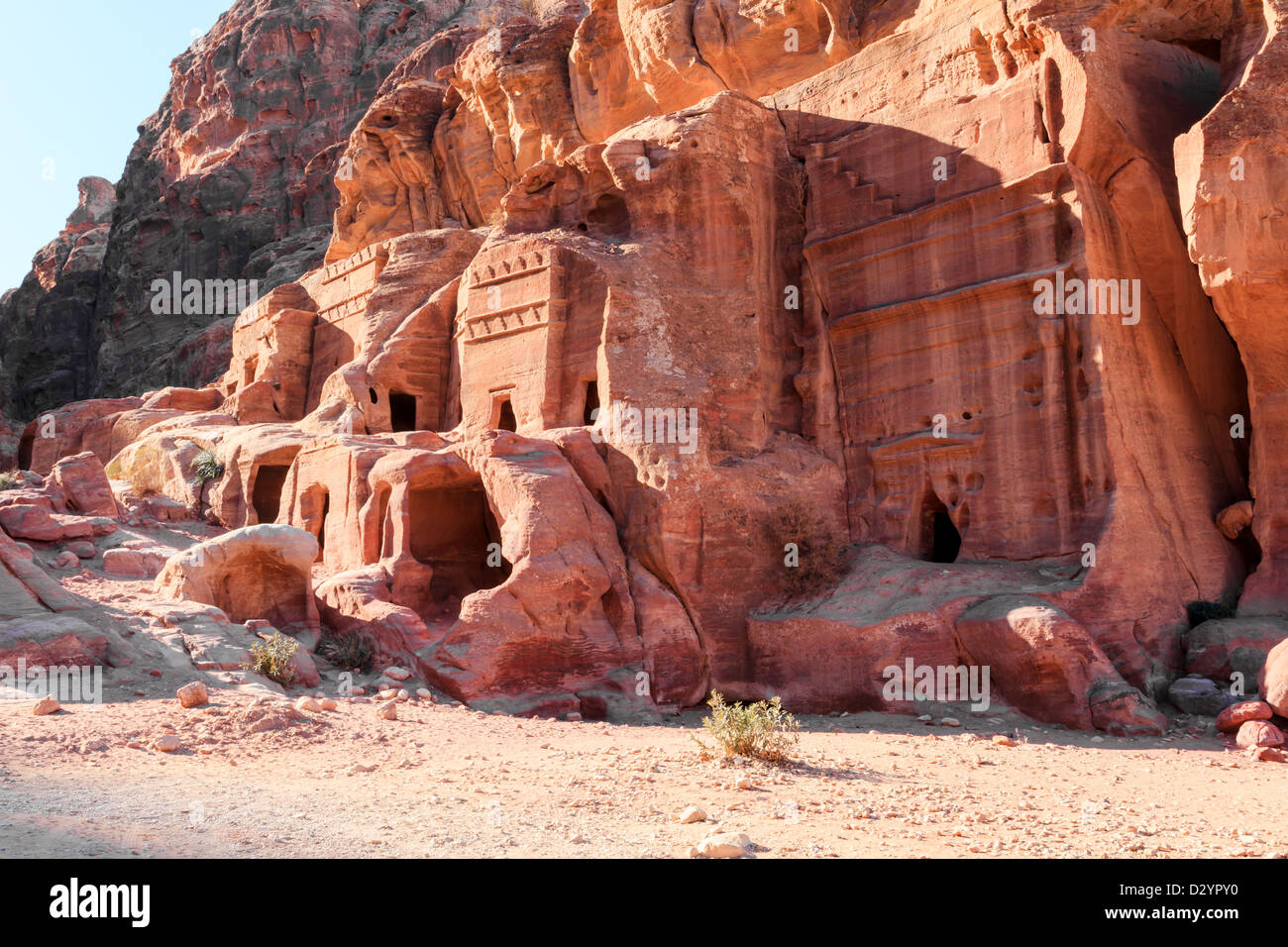 tombs in the lost city of petra Stock Photo