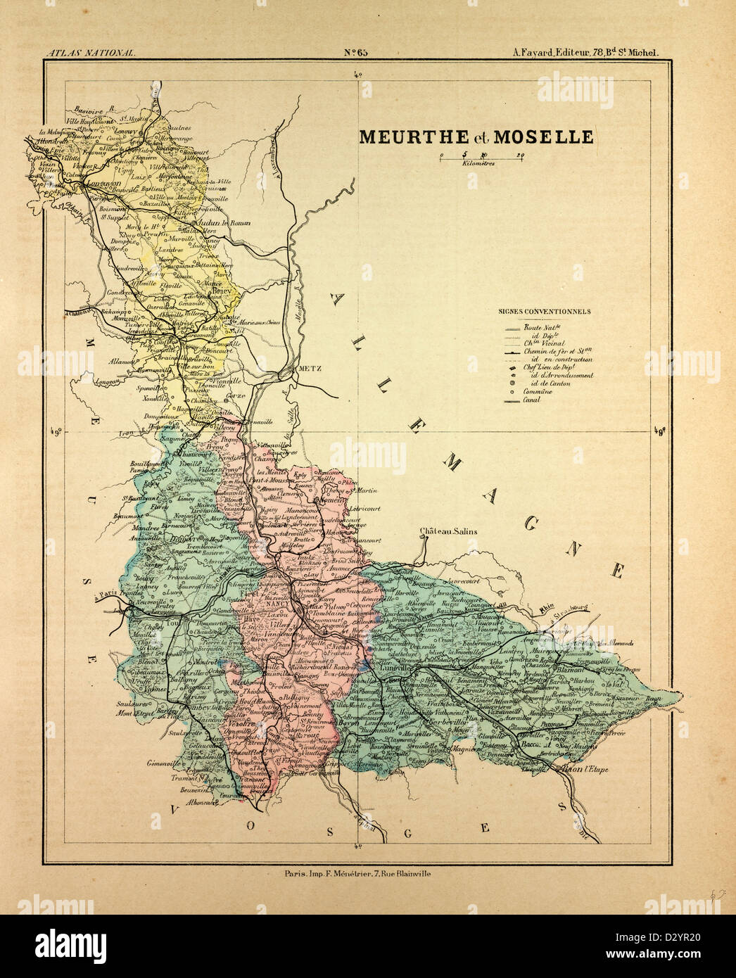 MAP OF MEURTHE ET MOSELLE FRANCE - Stock Image
