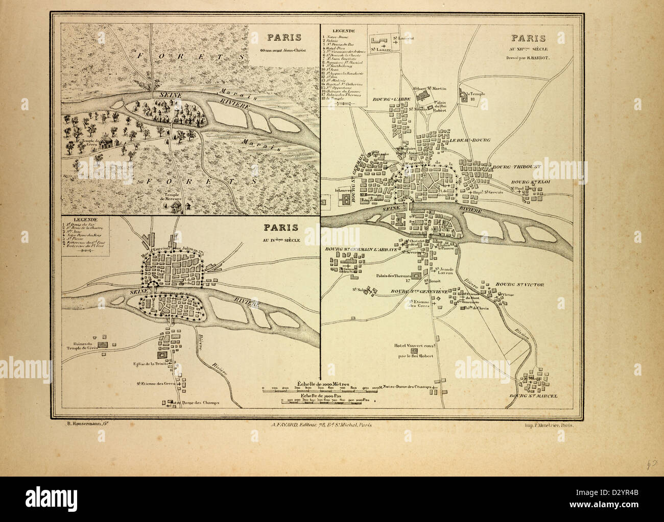 MAP OF PARIS IN 60 B.C. IN THE 4TH CENTURY AND IN THE 12TH CENTURY FRANCE - Stock Image