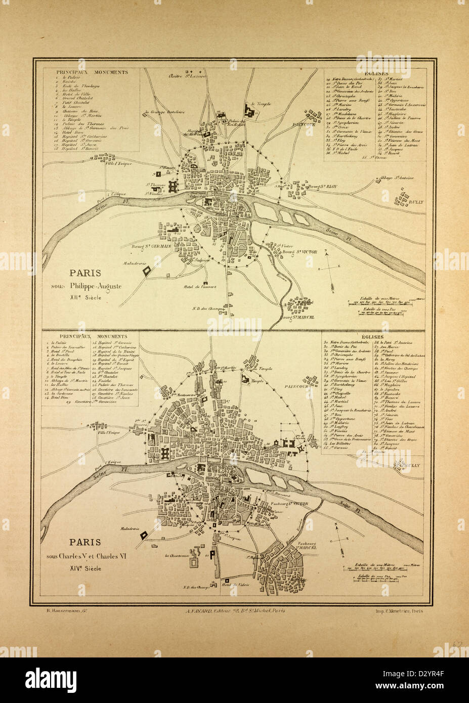 MAP OF PARIS IN THE 12TH CENTURY AND IN THE 14TH CENTURY FRANCE - Stock Image