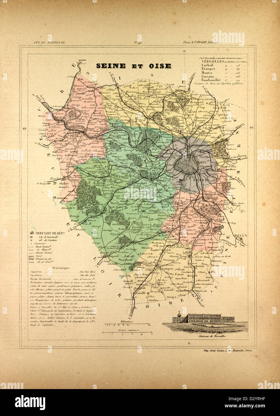 MAP OF SEINE ET OISE FRANCE - Stock Image
