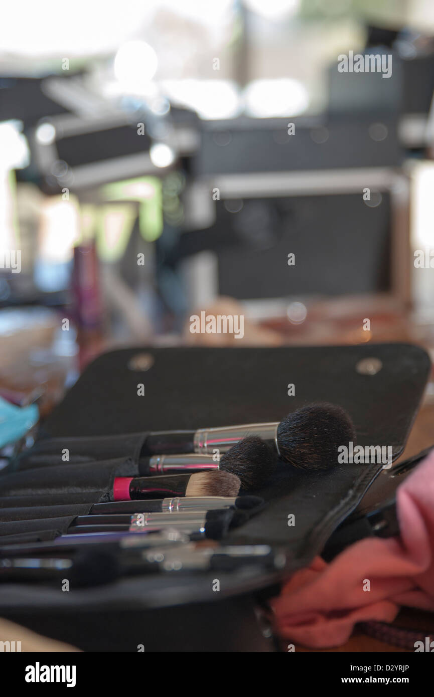 Brushes for a makeup kit lie in a row - Stock Image