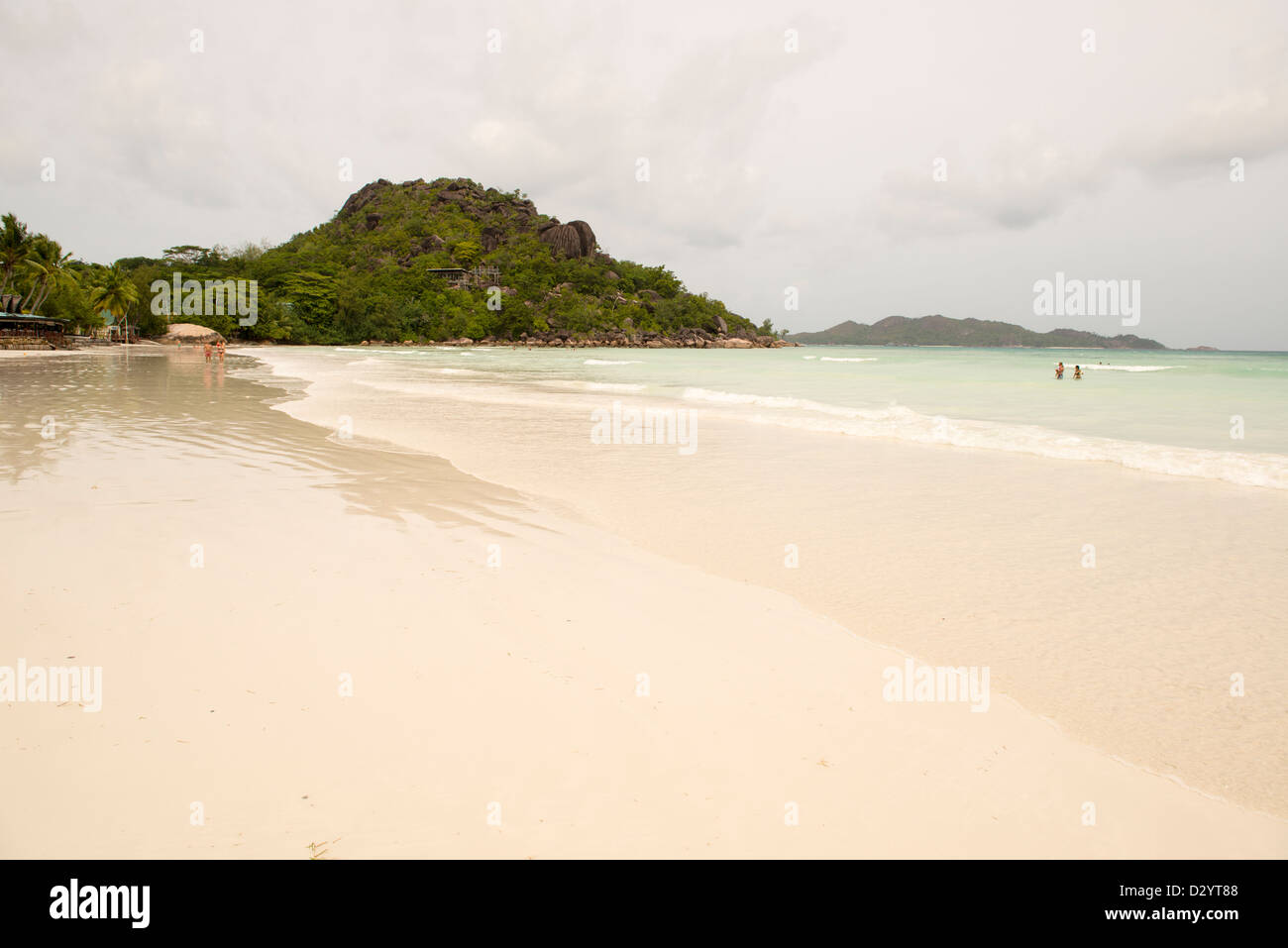 Beach setting on the beach in Seychelles, Denis private island, Indian Ocean Stock Photo