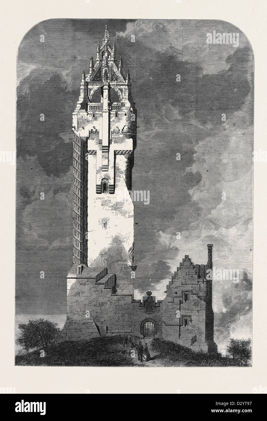 THE NATIONAL WALLACE MONUMENT ABOUT TO BE BUILT ON THE ABBEY CRAIG NEAR STIRLING - Stock Image