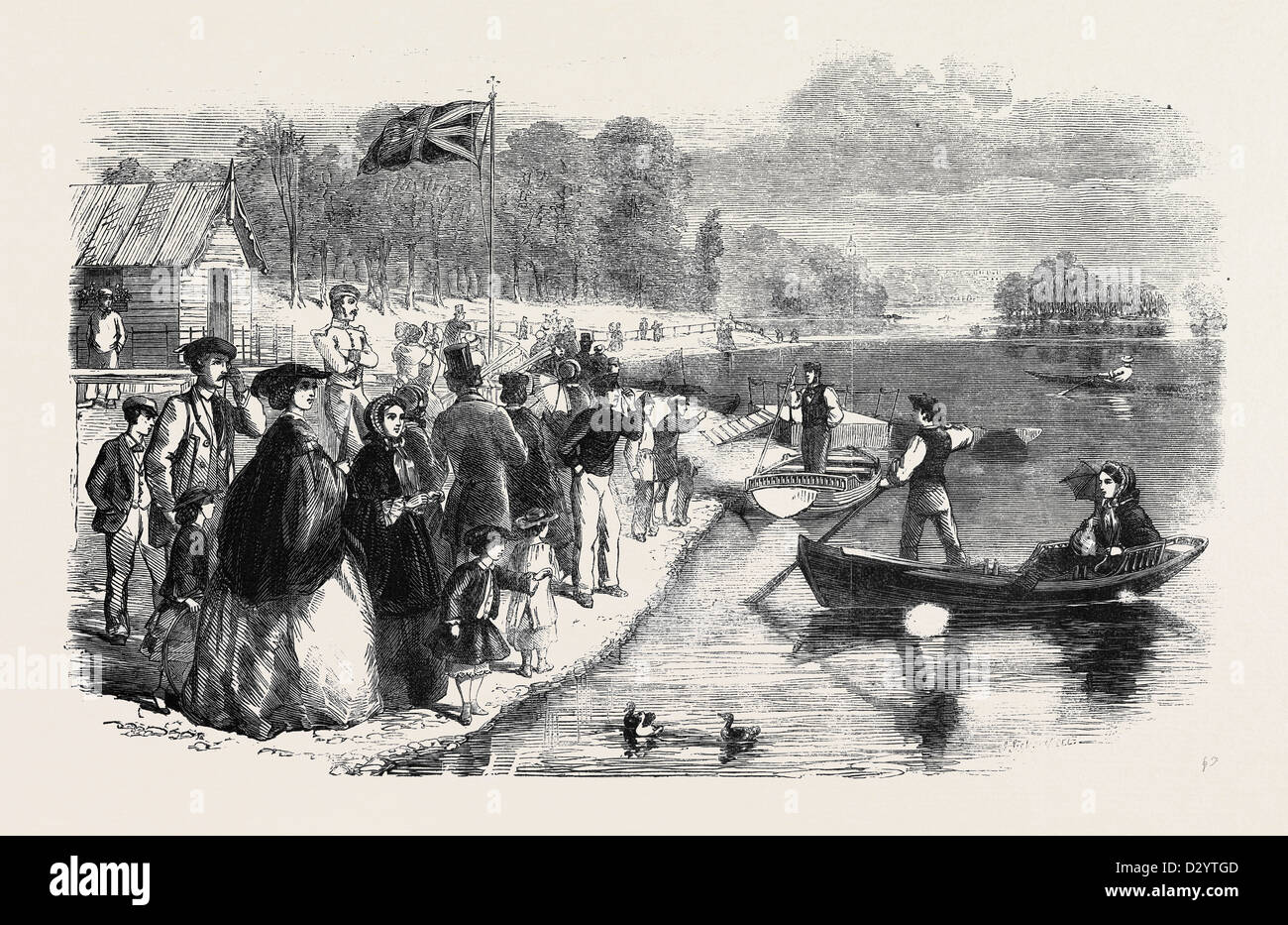 PLEASURE BOATS ON THE ORNAMENTAL WATER IN REGENT'S PARK Stock Photo