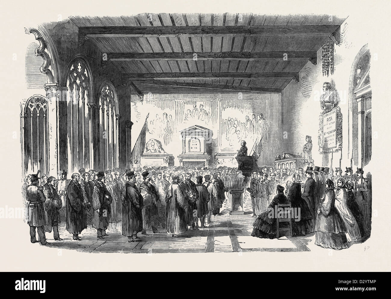 INAUGURATION OF CAVOUR'S MONUMENT IN THE CAMPO SANTO AT PISA JULY 20 1861 - Stock Image