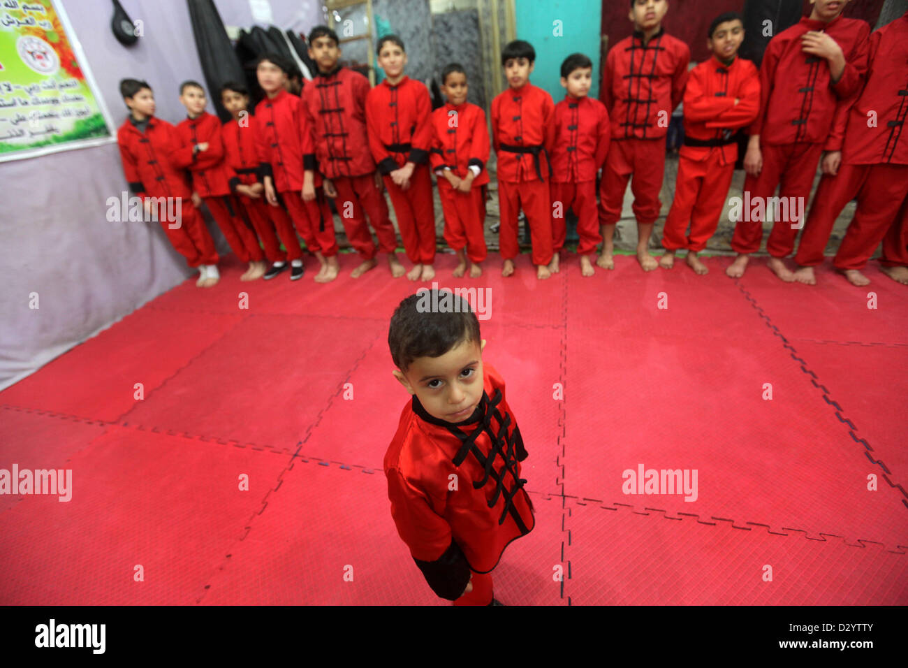 2, 2013 - Gaza City, Gaza Strip, Palestinian Territory - Palestinian  children practise Kungfu during martial arts training class at the Red  Dragon School in ...