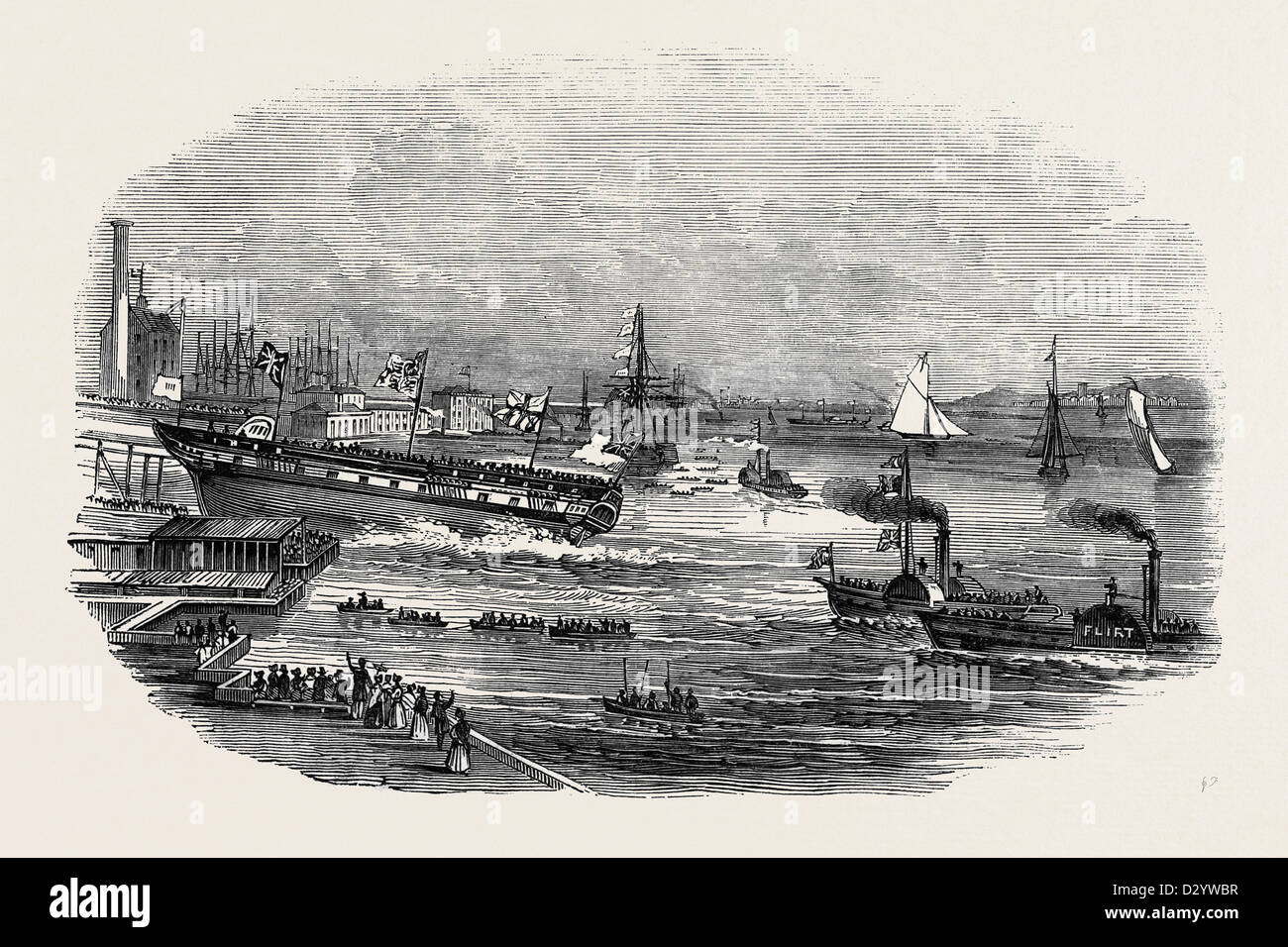 LAUNCH OF 'THE WELLESLEY,' AT BLACKWALL - Stock Image