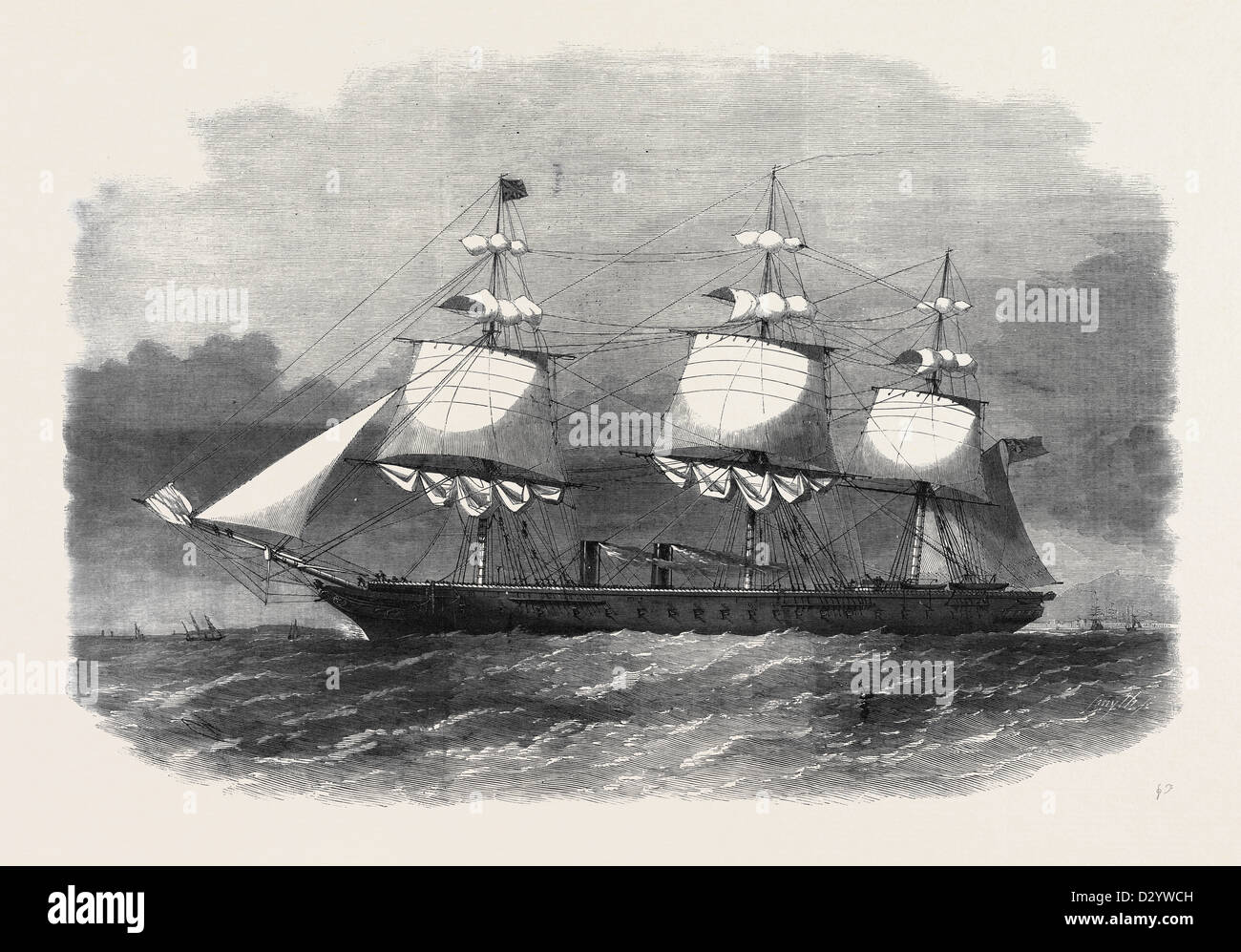 HER MAJESTY'S IRONCLAD STEAMFRIGATE WARRIOR 40 GUNS - Stock Image