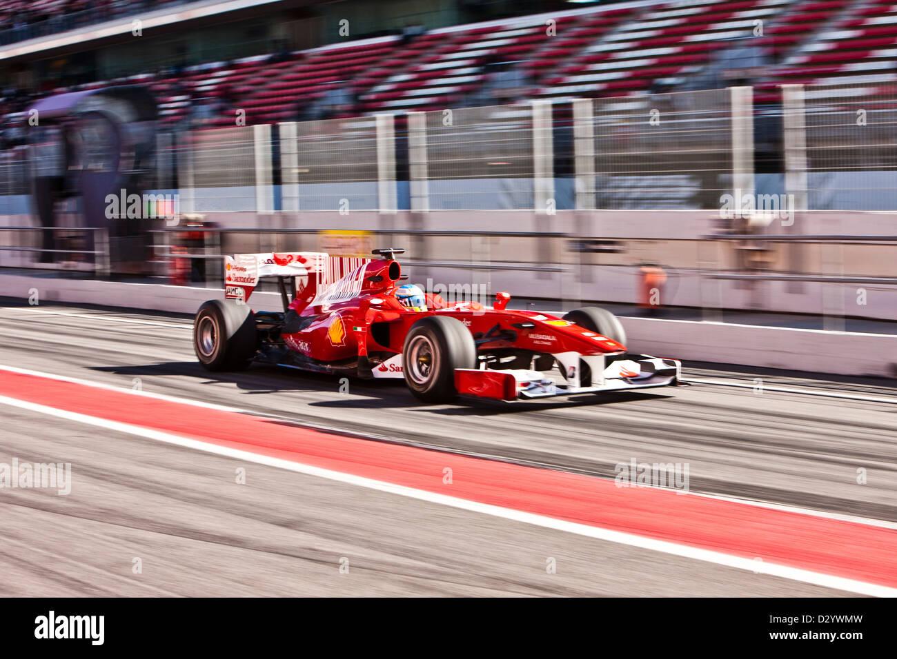 Formula one car action, Barcelona, 27 02 10 - Stock Image