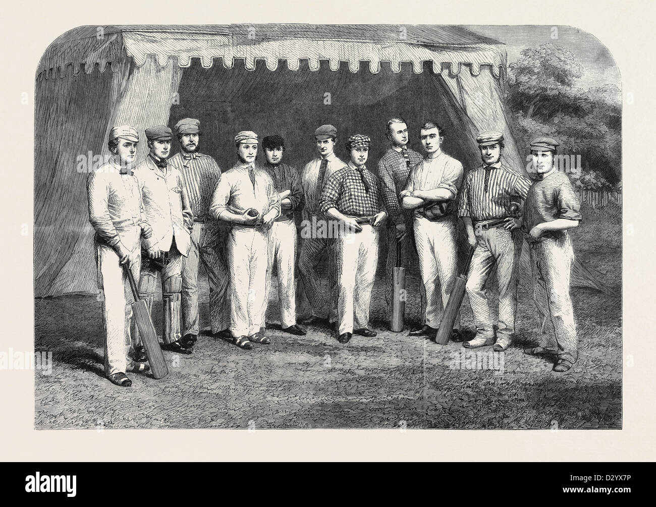 THE SURREY ELEVEN W. MORTLOCK T. LOCKYER H.H. STEPHENSON W. CAFFYN G. GRIFFITH - Stock Image