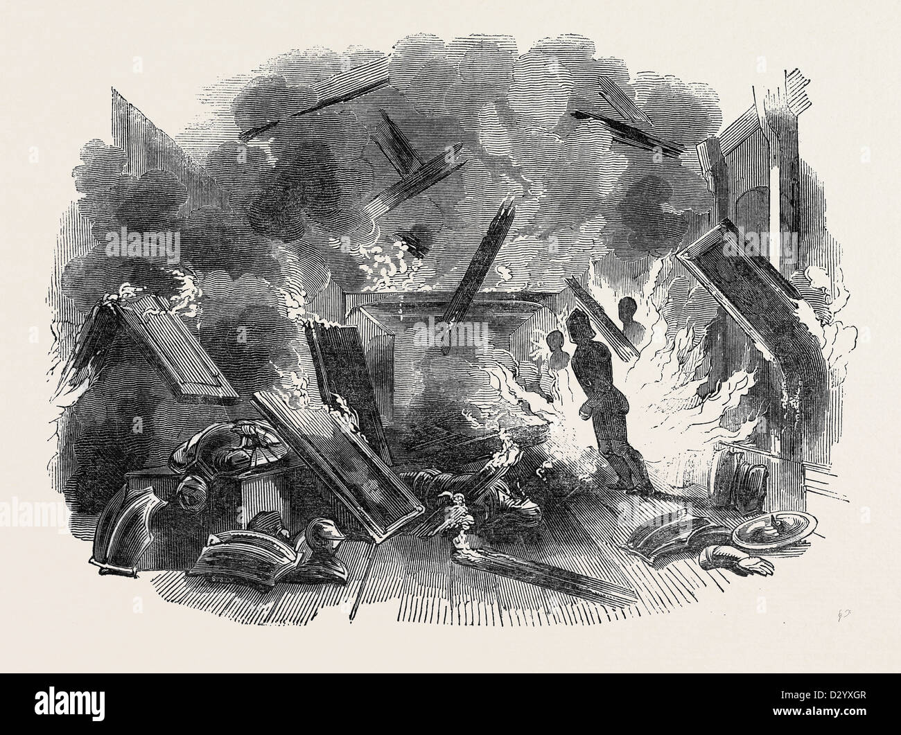 INTERIOR OF NAWORTH CASTLE, DURING THE CONFLAGRATION - Stock Image