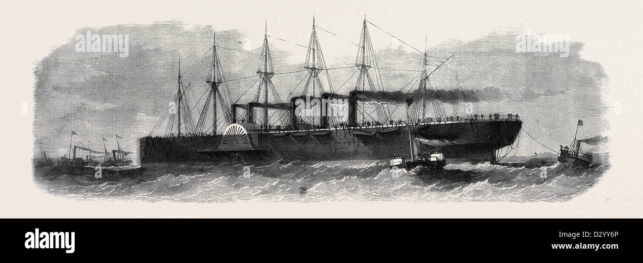 THE DISASTER TO THE GREAT EASTERN: THE BIG SHIP BEING TOWED TOWARDS CORK HARBOUR - Stock Image