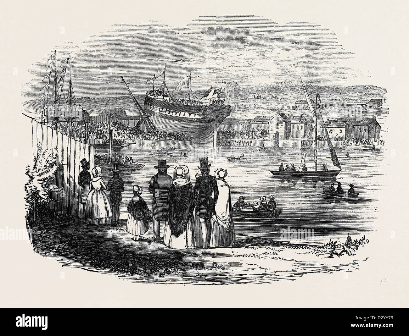 THE LAUNCH OF 'THE TUDOR,' EAST INDIAMAN, AT NEWCASTLE UPON TYNE - Stock Image