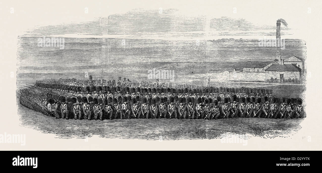 SQUARE OF THE FIRST BATTALION OF GRENADIER GUARDS TO WHICH BRIGADED WITH THE 36TH REGIMENT THE PRINCE OF WALES WAS - Stock Image