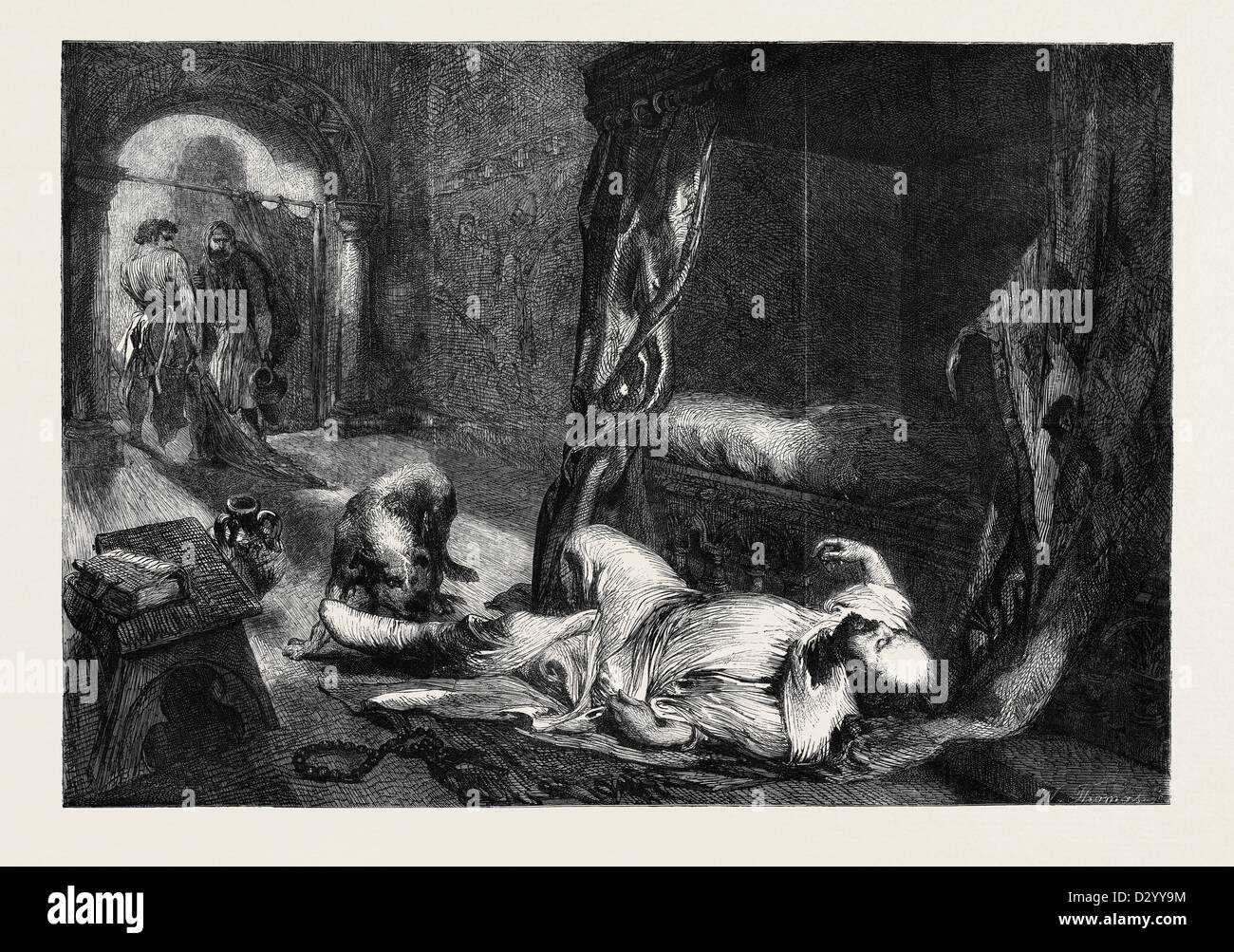 THE DEATH OF WILLIAM THE CONQUEROR DRAWN BY J. GILBERT - Stock Image