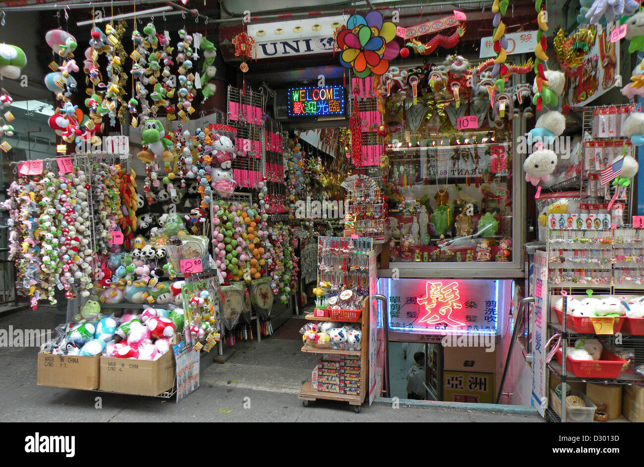 A tourist gift shop, Chinatown, New York City with many souvenir items for sale. Stock Photo