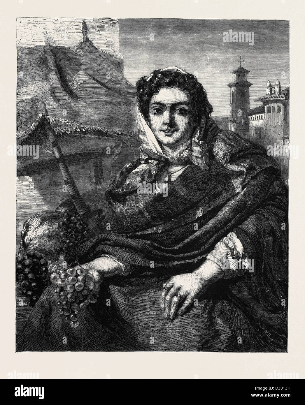THE GRAPESELLER BY J. PHILLIP R.A. IN MR. FLATOU'S COLLECTION - Stock Image