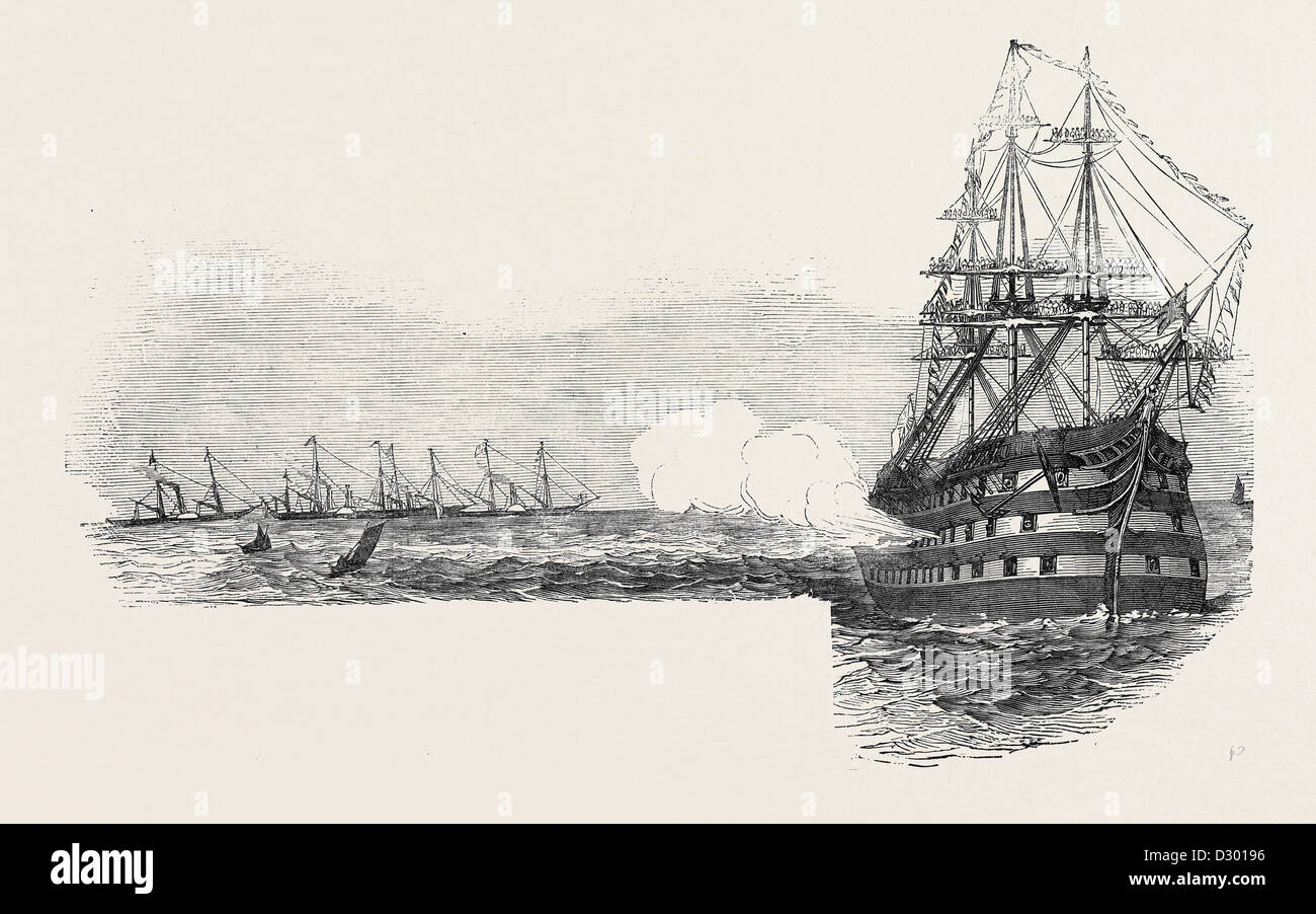 THE FLAG SHIP 'OCEAN,' SALUTING THE ROYAL SQUADRON, AT THE NORE - Stock Image