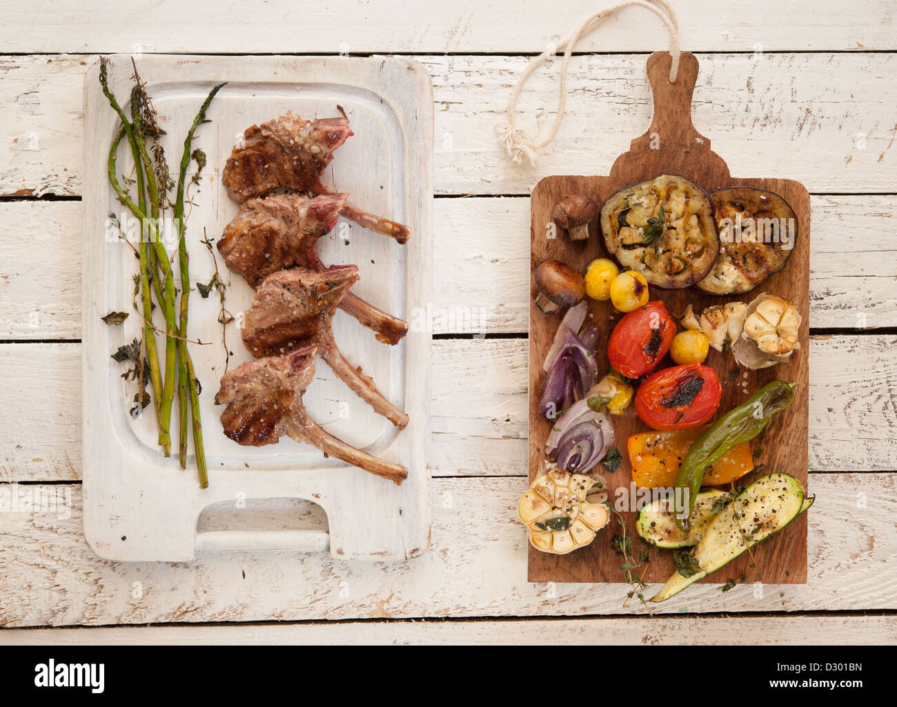 Anti Pasta And Lamp Chops On A Wooden Plate A Stylish Food Stock Photo Alamy