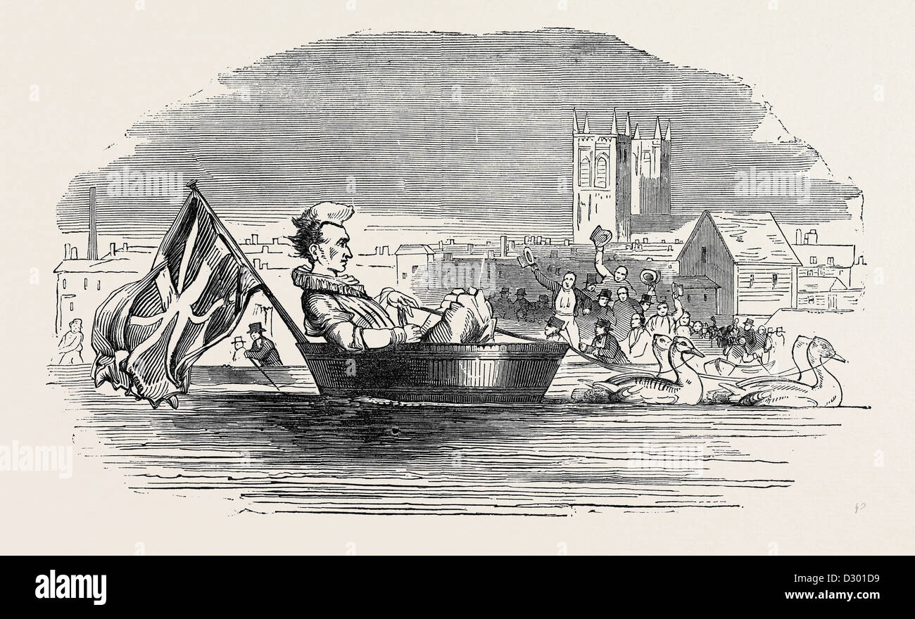 BARRY, THE CLOWN, ON THE THAMES; UK - Stock Image