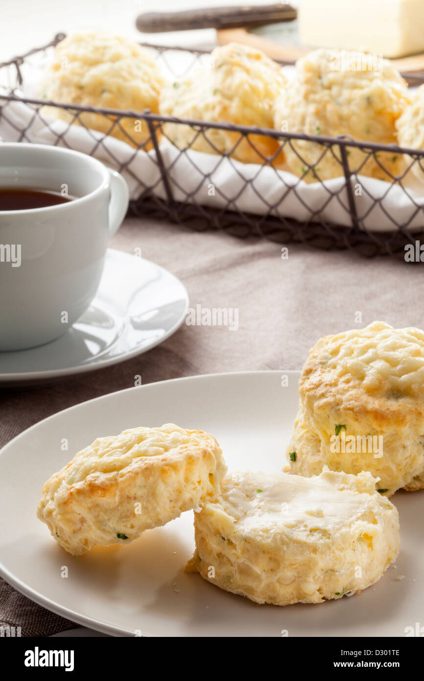 Cheese and chive scones - Stock Image