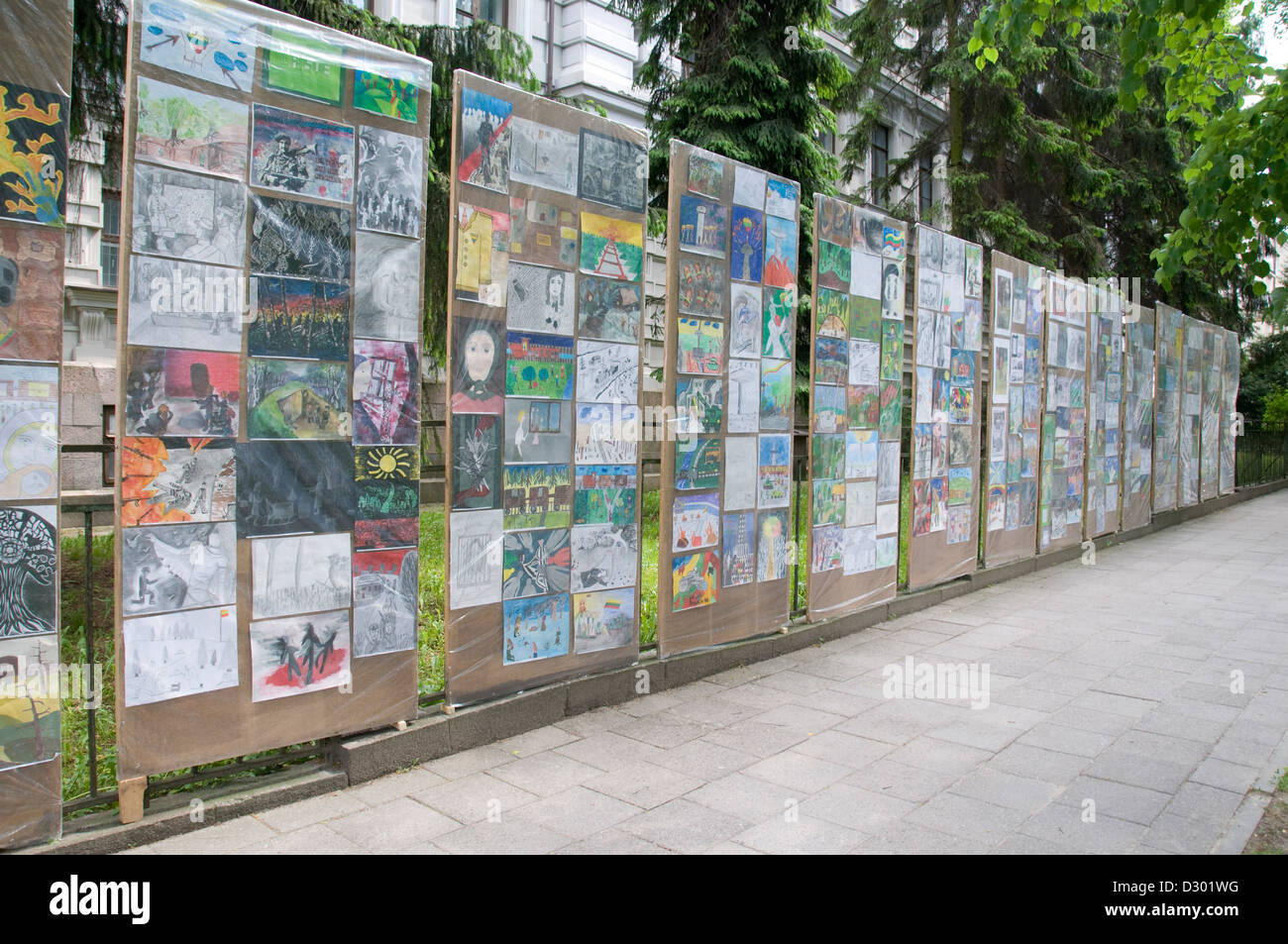 Art exhibition at the Museaum of Genocide Victims which was the Nazi and KGB H.Q in Gedimino Avenue, Vilnius, Lithuania - Stock Image