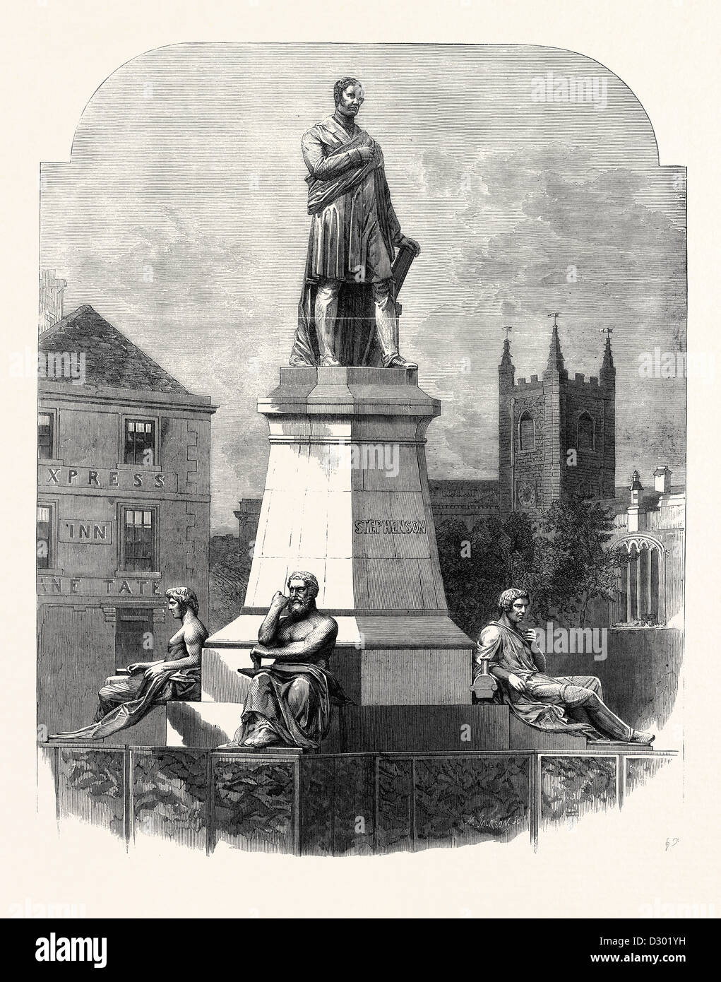 THE MONUMENT TO GEORGE STEPHENSON AT NEWCASTLE-ON-TYNE. - Stock Image