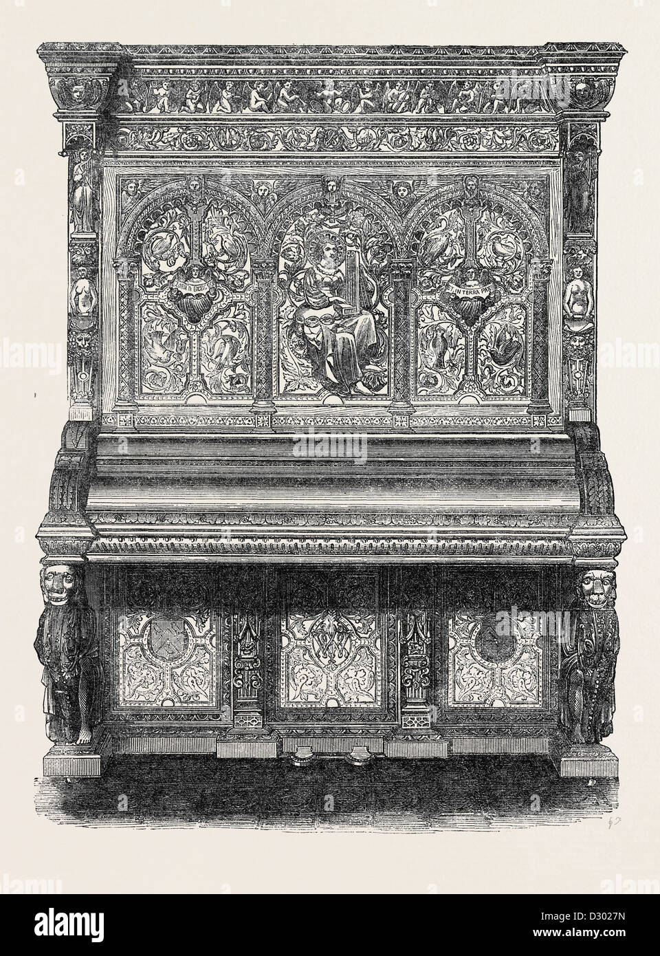 THE INTERNATIONAL EXHIBITION: PIANOFORTE BY MESSRS. ALLISON OF WARDOUR STREET 1862 - Stock Image