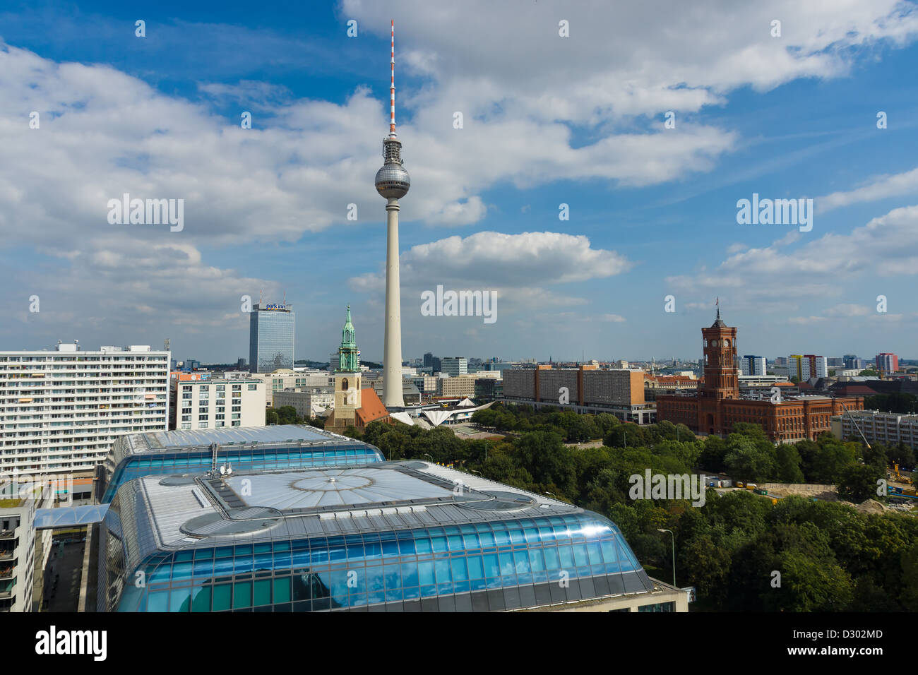 St. Mary's Church, the Berlin Television Tower, hotels Park Inn, bird's-eye view and the Rotes Rathaus - Stock Image