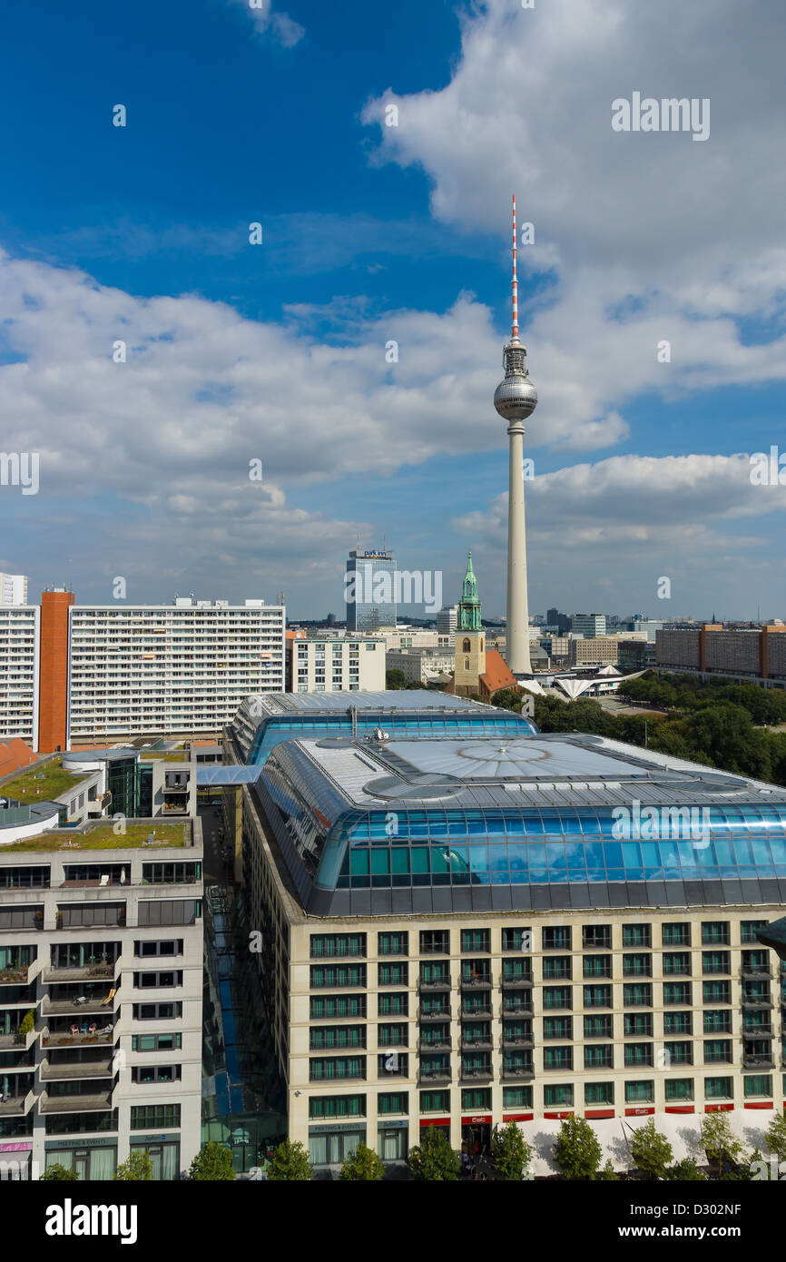 St. Mary's Church and the Berlin Television Tower and hotels Park Inn, in the foreground roof hotel Radisson - Stock Image