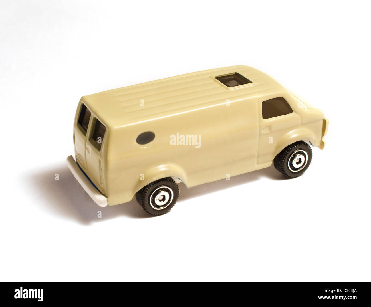 toy delivery van on white background - Stock Image