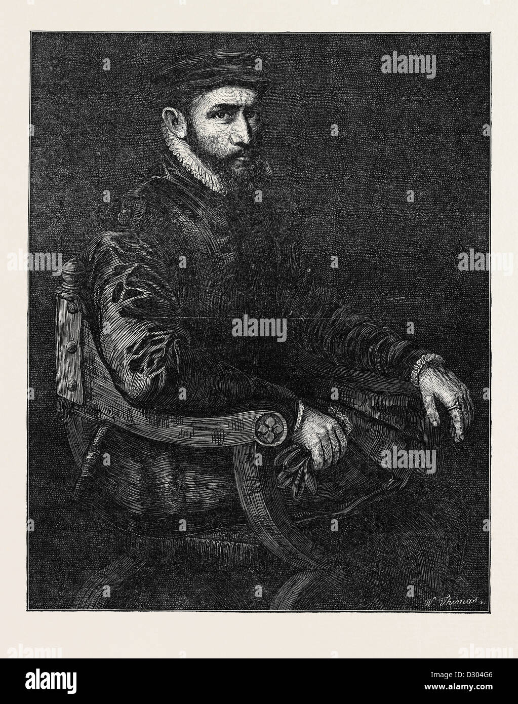 SIR THOMAS GRESHAM BY SIR ANTONIO MORE IN THE NATIONAL PORTRAIT EXHIBITION SOUTH KENSINGTON LONDON UK - Stock Image