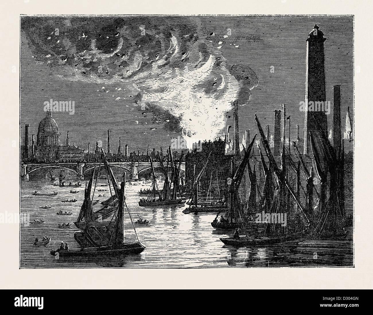 FIRE AT BLACKFRIARS BRIDGE ON NEW YEAR'S EVE, LONDON, 1870 - Stock Image