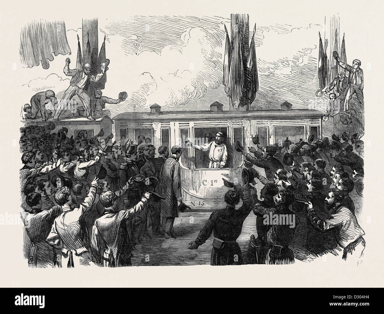 THE AUSTRO-PRUSSIAN WAR: ARRIVAL OF GARIBALDI AT THE MILAN RAILWAY STATION 1866 ITALY - Stock Image