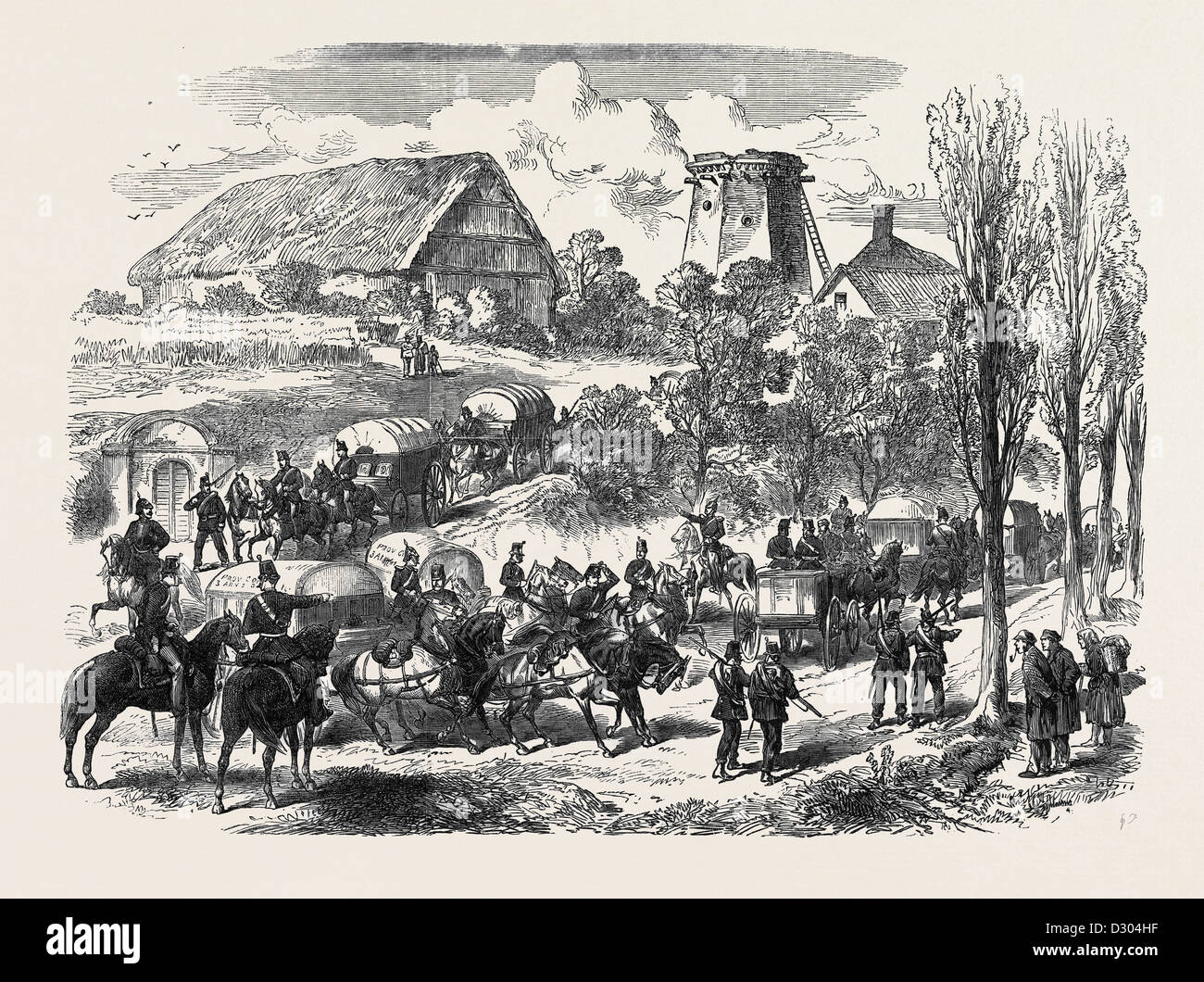 THE AUSTRO-PRUSSIAN WAR: PROVENDER WAGGONS OF THE PRUSSIAN ARMY PASSING THE SAXON FRONTIER 1866 - Stock Image