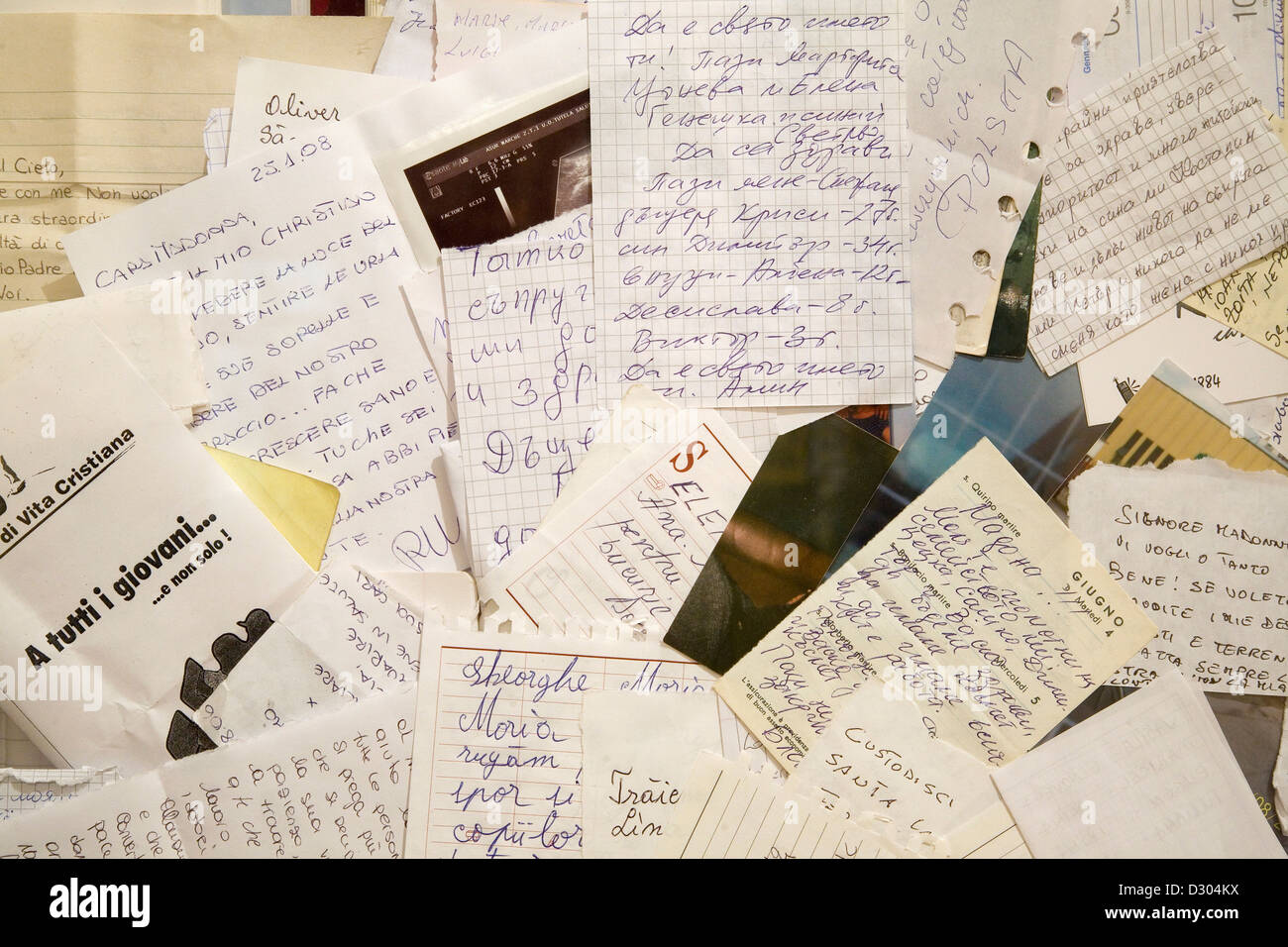 europe, italy, marche, loreto, sanctuary of the holy house, letters of the pilgrims - Stock Image