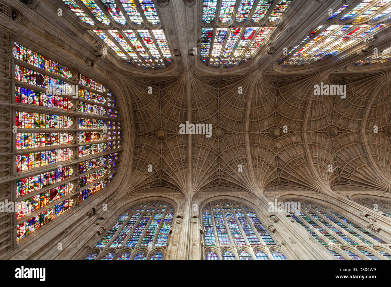 Kings College Chapel glass windows and ornate ceiling Stock Photo