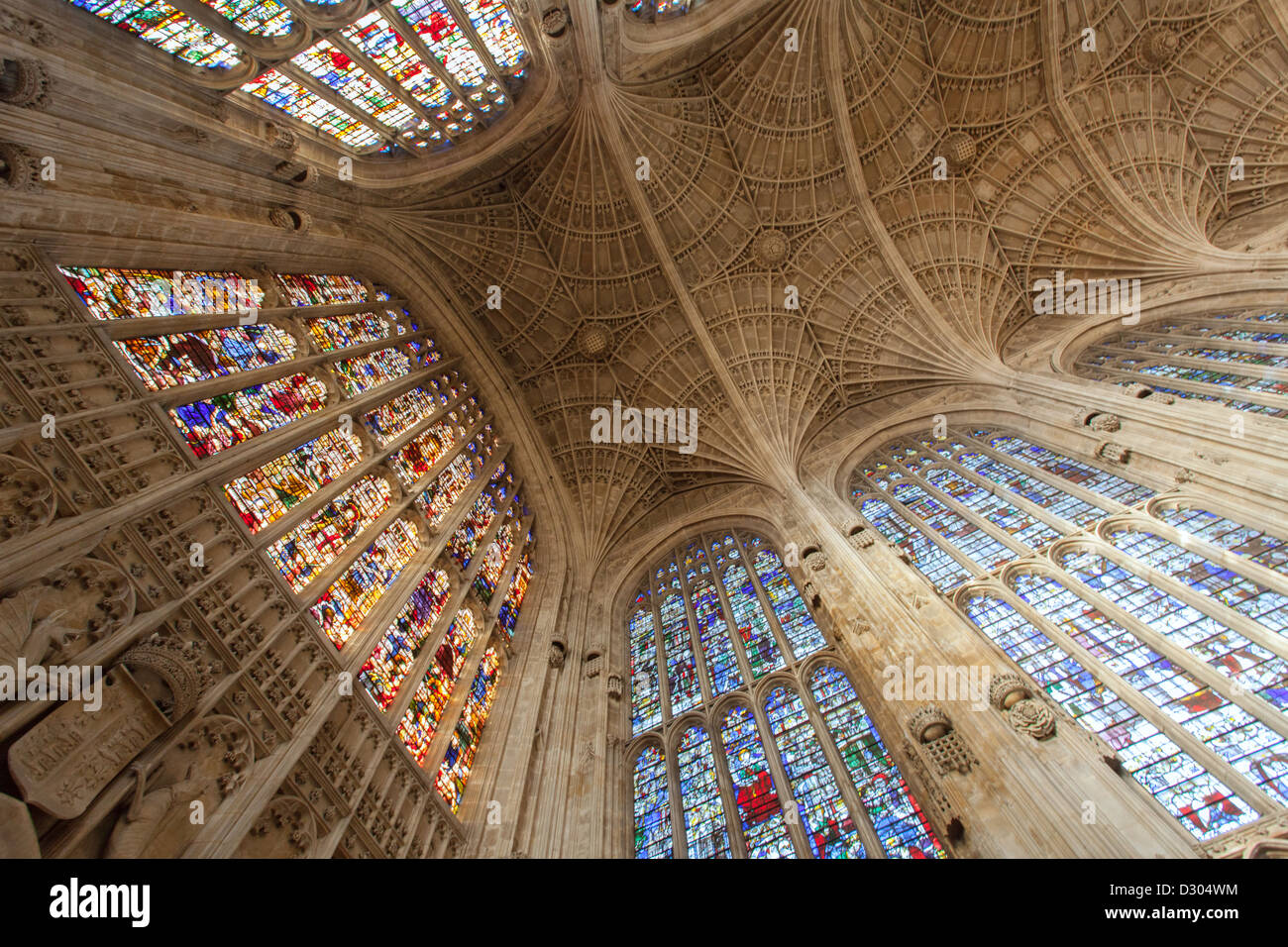 Kings College Chapel stained glass windows and ornate ceiling Stock Photo