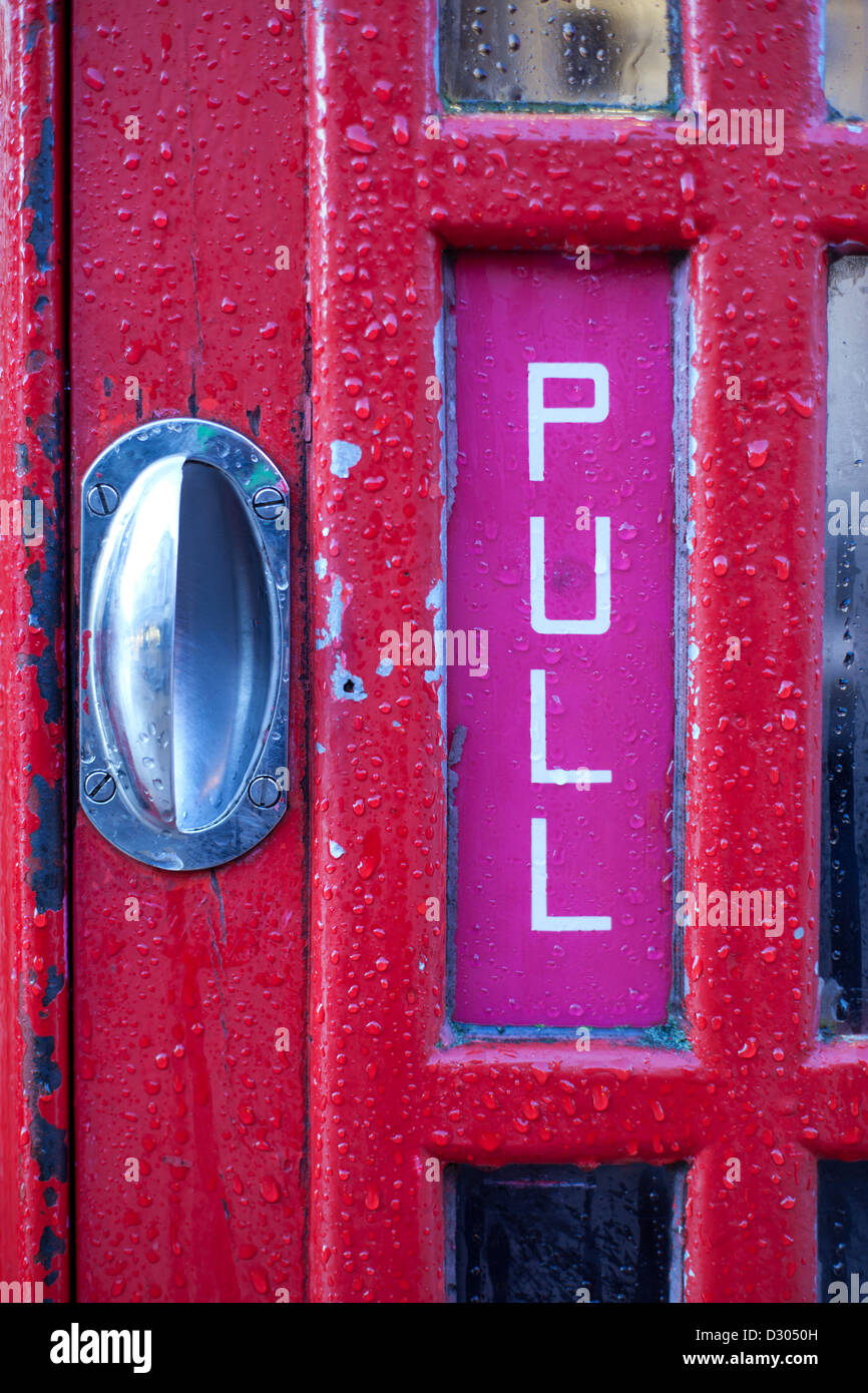 Phone box handle 'PULL' Red - Stock Image