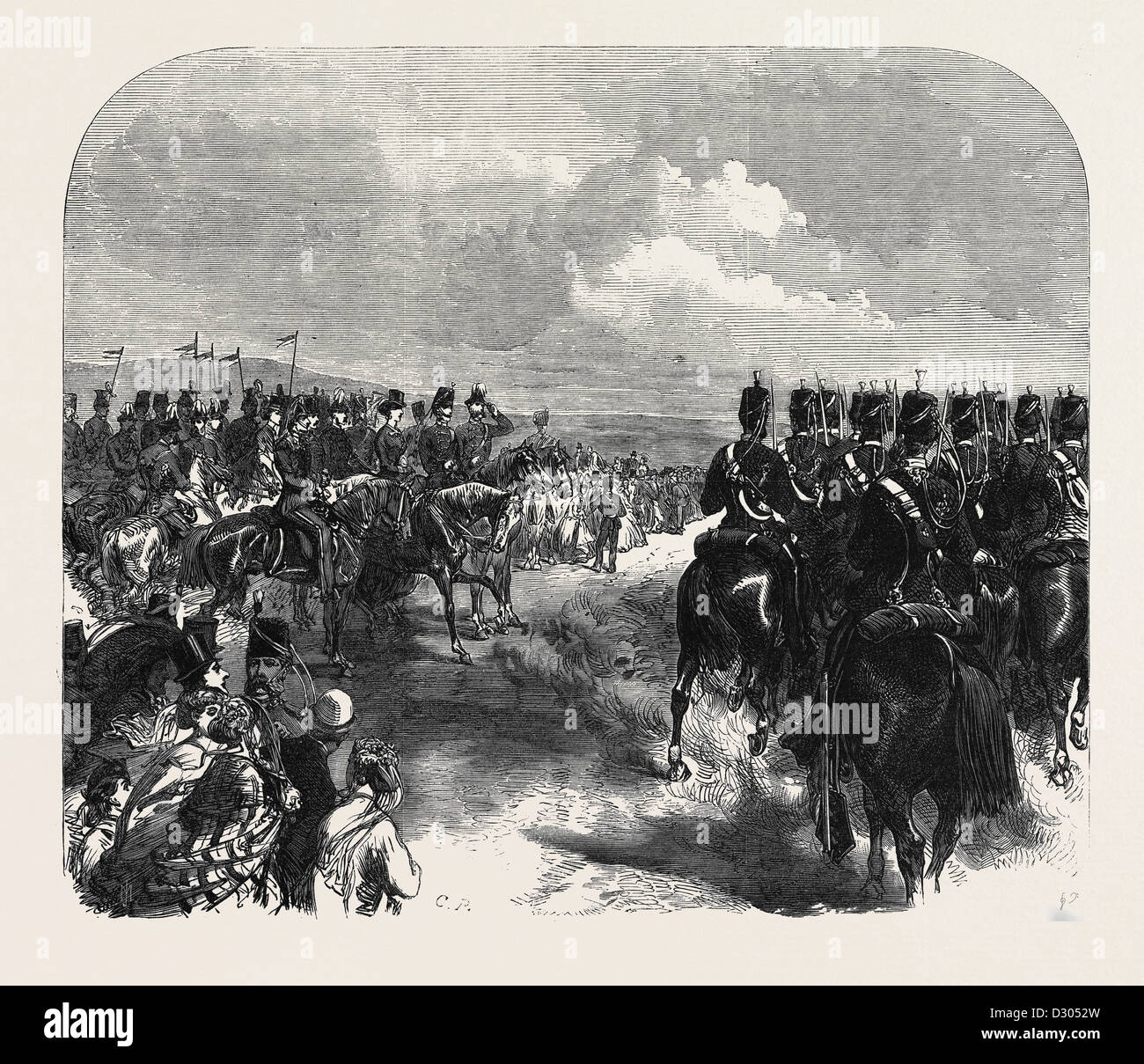 FIELD-DAY AT ALDERSHOTT: CAVALRY MARCHING PAST THE PRINCE AND PRINCESS OF WALES UK 1866 - Stock Image