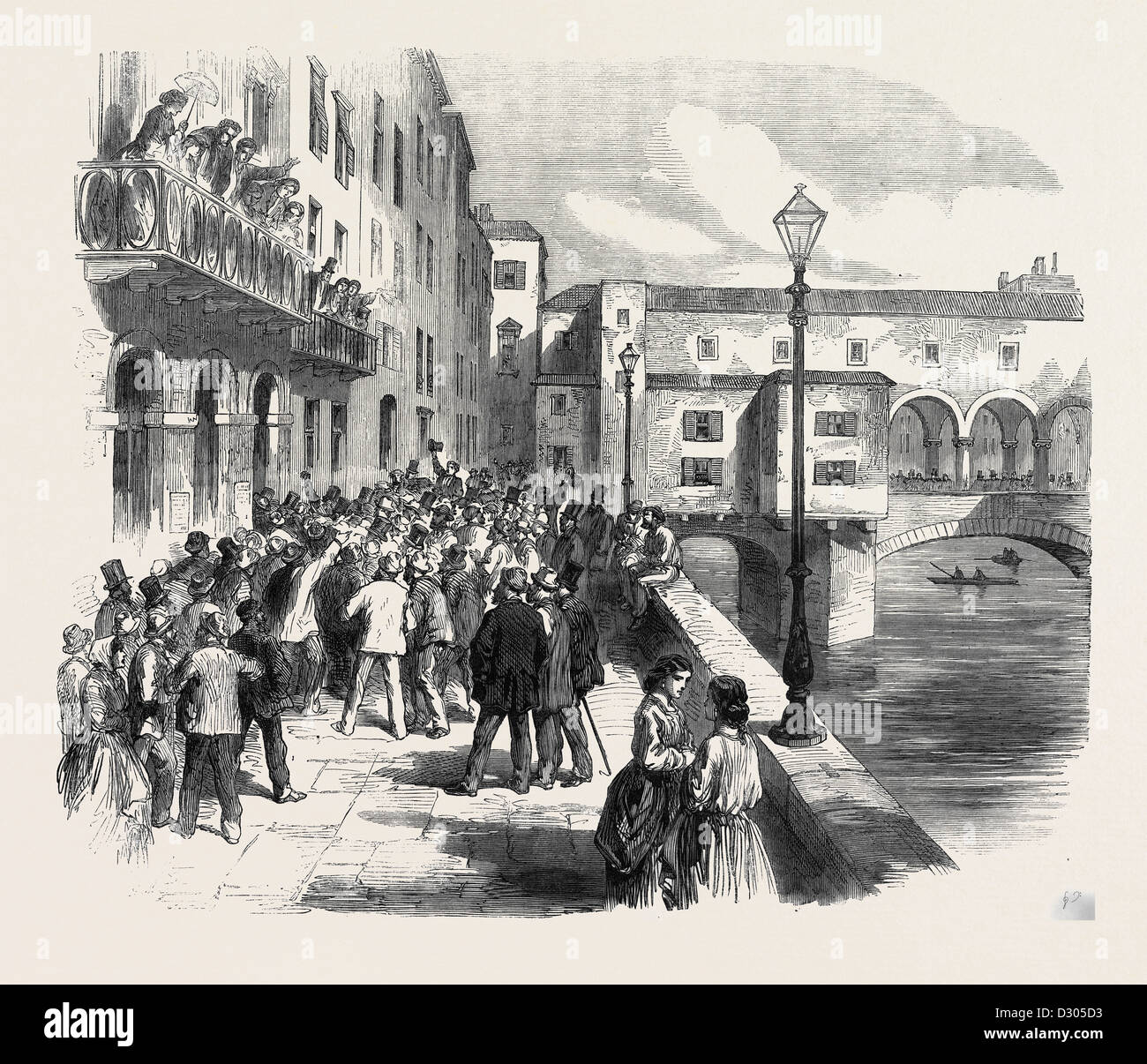 THE IMPENDING WAR (THE AUSTRO-PRUSSIAN WAR): VOLUNTEERS FOR GARIBALDI A SCENE IN FLORENCE ITALY 1866 - Stock Image